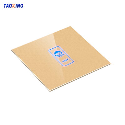 OEM low MOQ laser cut silk printed tempered glass cover panel for touch switch